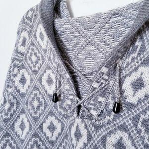 Gray & White Ogue Pattern Oversized Cotton Sweater